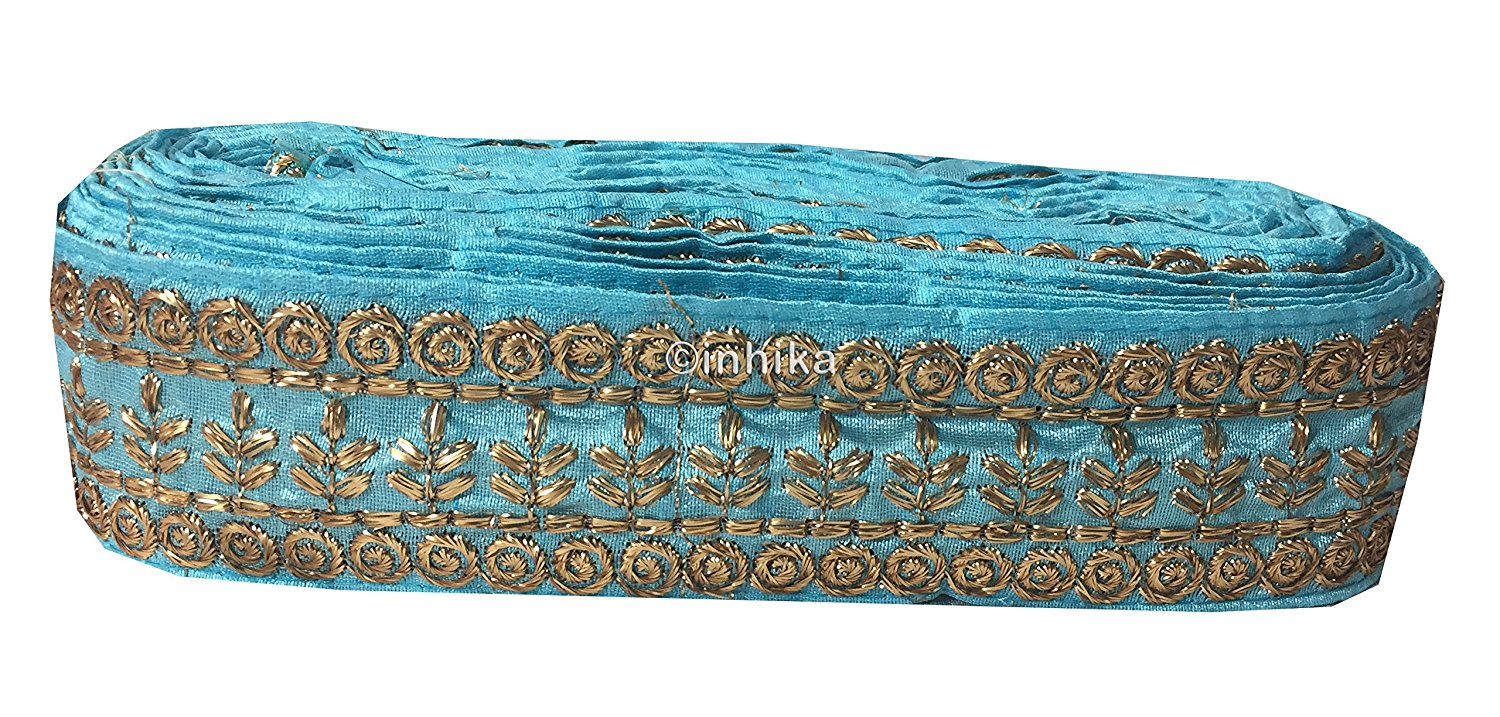 lace trim fabric bridal rhinestone lace appliques wholesale Sky-Blue-Embroidery-3-Inch-Wide-3293
