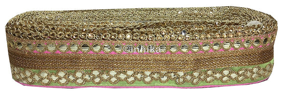 lace trim fabric where to buy fringe for clothing Pista-Green-Light-Pink-Embroidery-Gota-Patti-3-Inch-Wide-3310