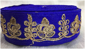 lace trim fabric decorative fabric trim ribbon for clothing Royal Blue, Embroidery, 2 Inch Wide material Cotton Mix, Dupion