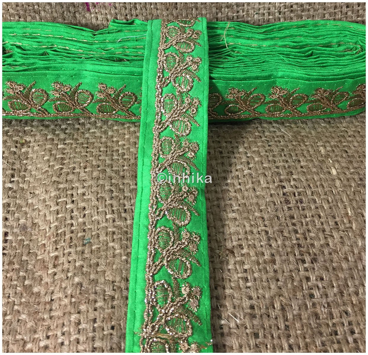 lace trim fabric designer fabric trim for garment wholesale suppliers Green-Embroidery-Sequins-2-Inch-Wide-3279