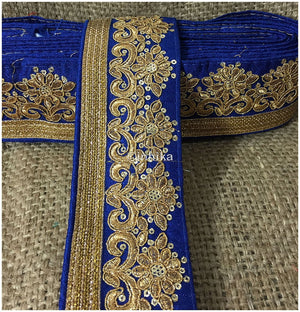 lace trim fabric online saree lace border patterns design with price Blue-Embroidery-Sequins-3-Inch-Wide-3297