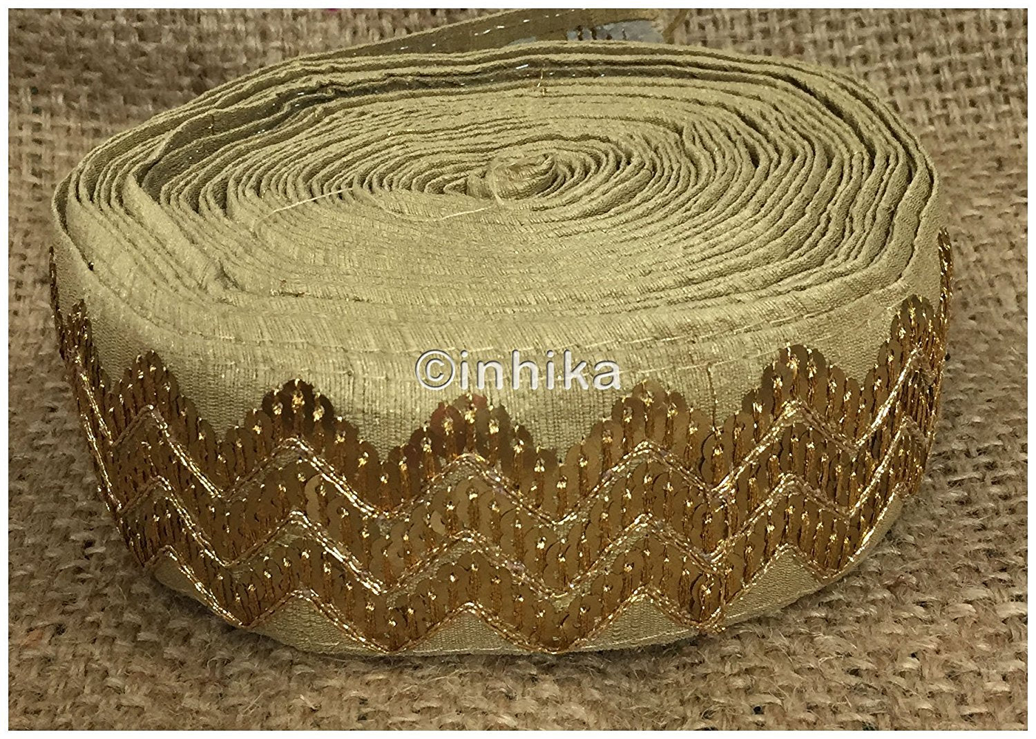 lace trim fabric garment trims and accessories wholesale suppliers Beige, Embroidery, Sequins, 3 Inch Wide material Cotton Mix, Dupion