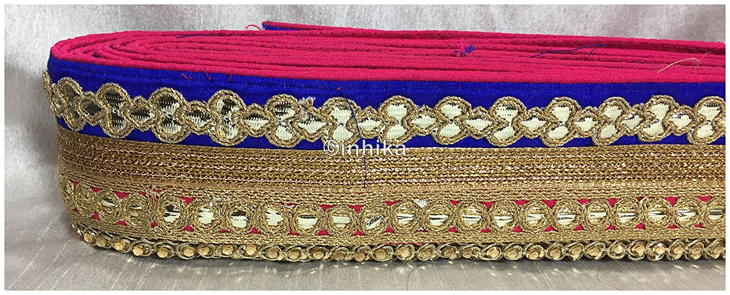 lace trim fabric lace material for dressmaking by the yard Rani-Pink-Blue-Embroidery-Gota-Patti-3-Inch-Wide-3305
