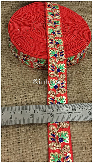 lace trim fabric trims and accessories used in garment industry Red, Embroidery, Sequins, 2 Inch Wide material Cotton Mix