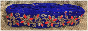 lace trim fabric sequin appliques and trims suppliers Blue-Flower-Embroidered-2-Inch-Wide-3215
