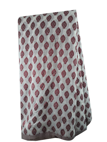 Image of plain fabric online india cloth material online Embroidered, Jaquard Cotton Off White, Maroon 49 inches Wide 1795