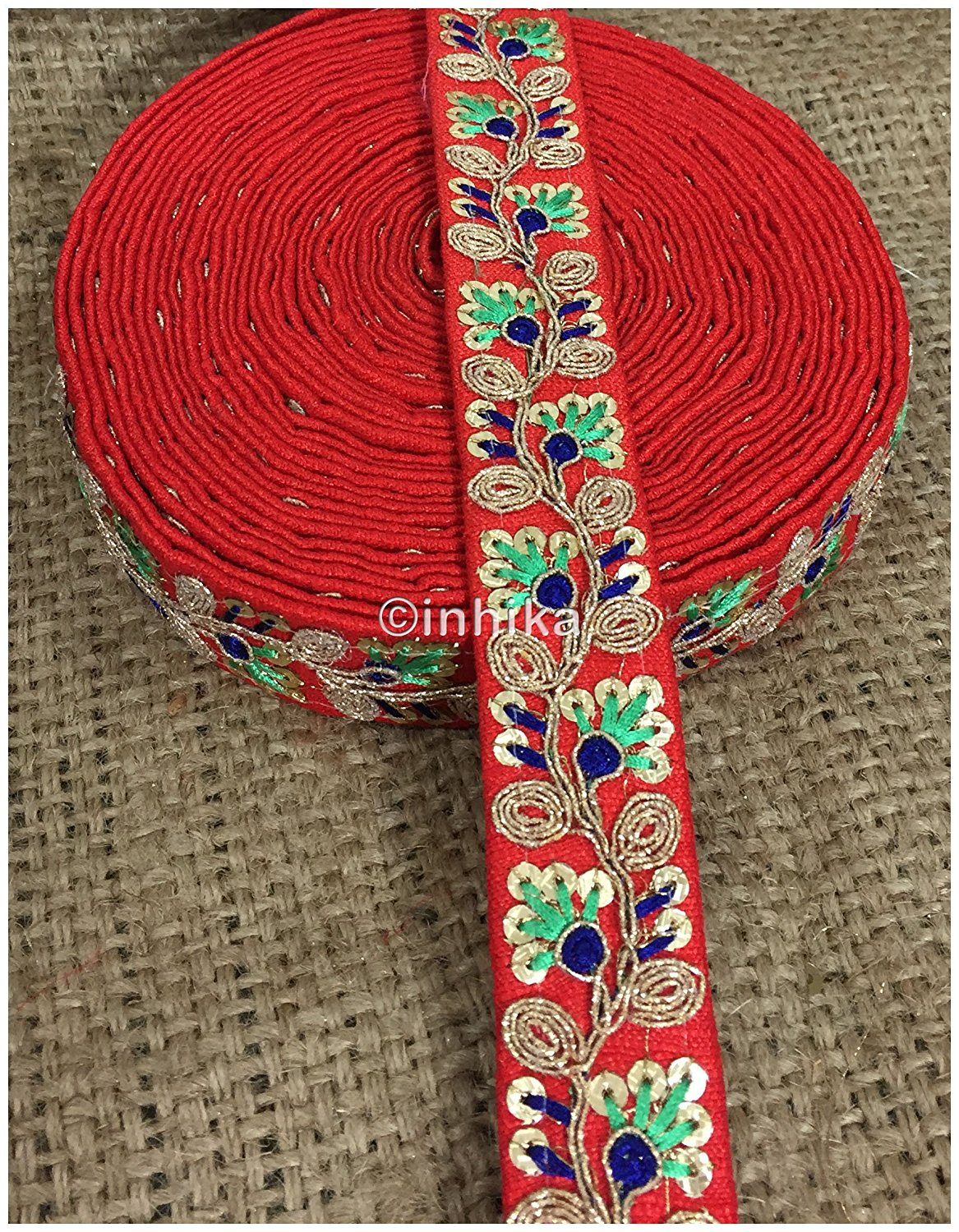lace trim fabric lace material for dressmaking by the yard Red, Embroidery, Sequins, 2 Inch Wide material Cotton Mix