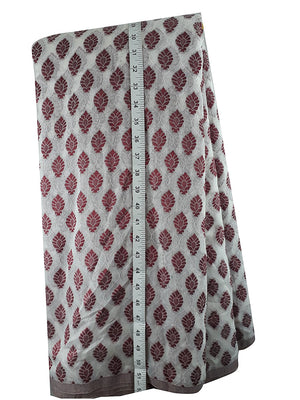 running dress material online cloth material online Embroidered, Jaquard Cotton Off White, Maroon 49 inches Wide 1795