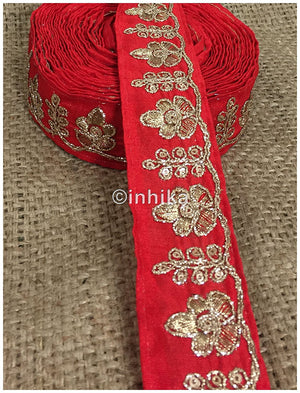 lace trim fabric designer jacquard fabric ribbon trim Red, Embroidery, 2 Inch Wide material Cotton Mix, Dupion