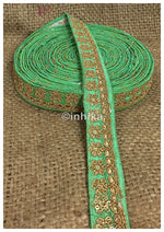 lace trim fabric sequin appliques and trims suppliers Green, Embroidery, Sequins, 1 Inch Wide material Cotton Mix