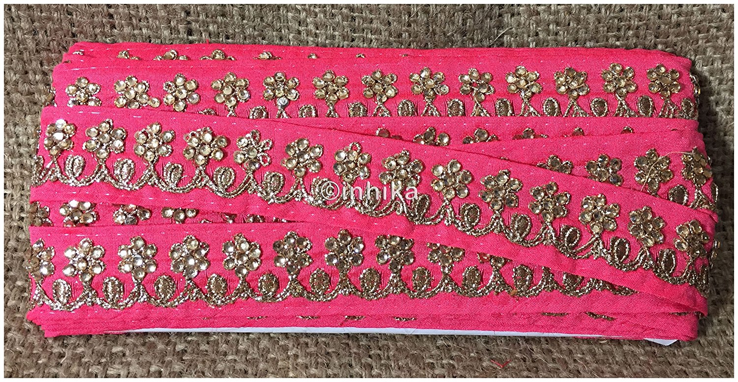 lace trim fabric sewing trims and embellishments for clothing Peach, Embroidery, Stone, 2 Inch Wide material Cotton Mix