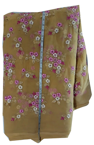 Image of embroidery designs blouse material online Embroidered Georgette Beige, Pink, White 44 inches Wide 1628