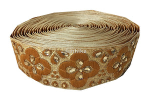 Beige Gold Brocade Beaded Trim