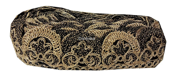 lace trim fabric trims and accessories used in garment industry  Black-Embroidery-2-Inch-Wide-3257