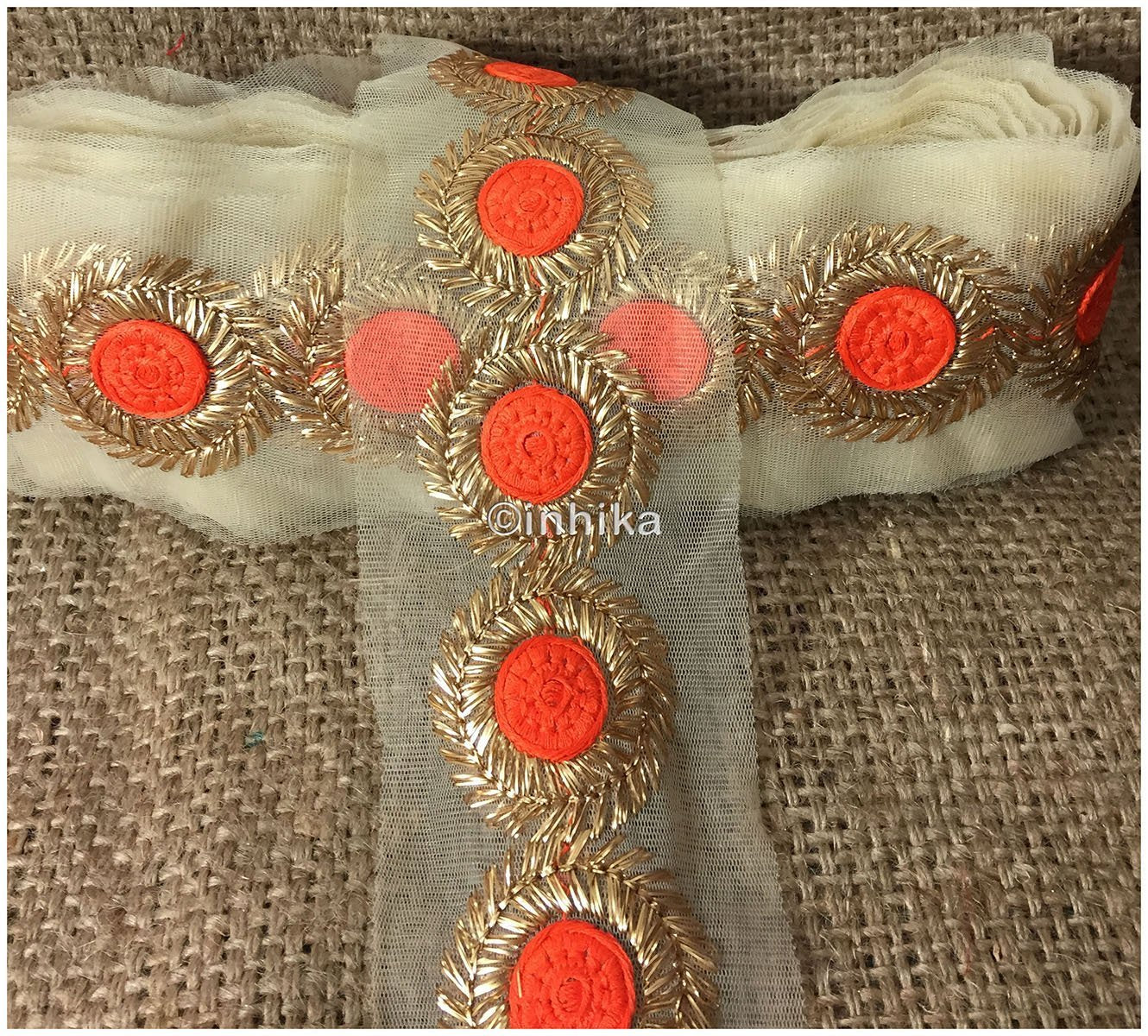 lace trim fabric sewing trims and embellishments for clothing Dark-Orange-Embroidery-3-Inch-Wide-3314