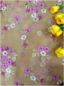 online fabric shopping blouse material online Embroidered Georgette Beige, Pink, White 44 inches Wide 1628