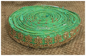 lace trim fabric where to buy lace appliques Green, Embroidery, Sequins, 1 Inch Wide material Cotton Mix
