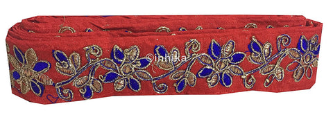 Image of lace trim fabric where to buy fringe for clothing Red-Flower-Embroidered-2-Inch-Wide-3213
