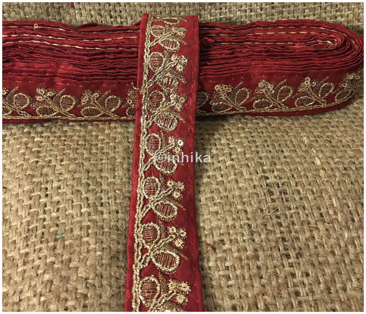 lace trim fabric saree border cheap lace fabric india  Maroon-Embroidery-Sequins-2-Inch-Wide-3282