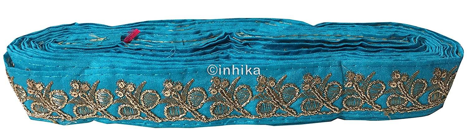 lace trim fabric trims and accessories used in garment industry Blue-Embroidery-Sequins-2-Inch-Wide-3287