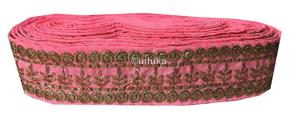 lace trim fabric embroidered lace fabric for wedding dresses india online Light-Pink-Embroidery-3-Inch-Wide-3291