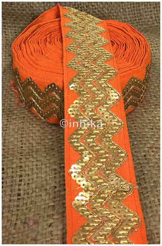 Image of lace trim fabric lace applique trim wedding dress dance costumes and dresses Orange, Embroidery, Sequins, 3 Inch Wide material Cotton Mix, Dupion