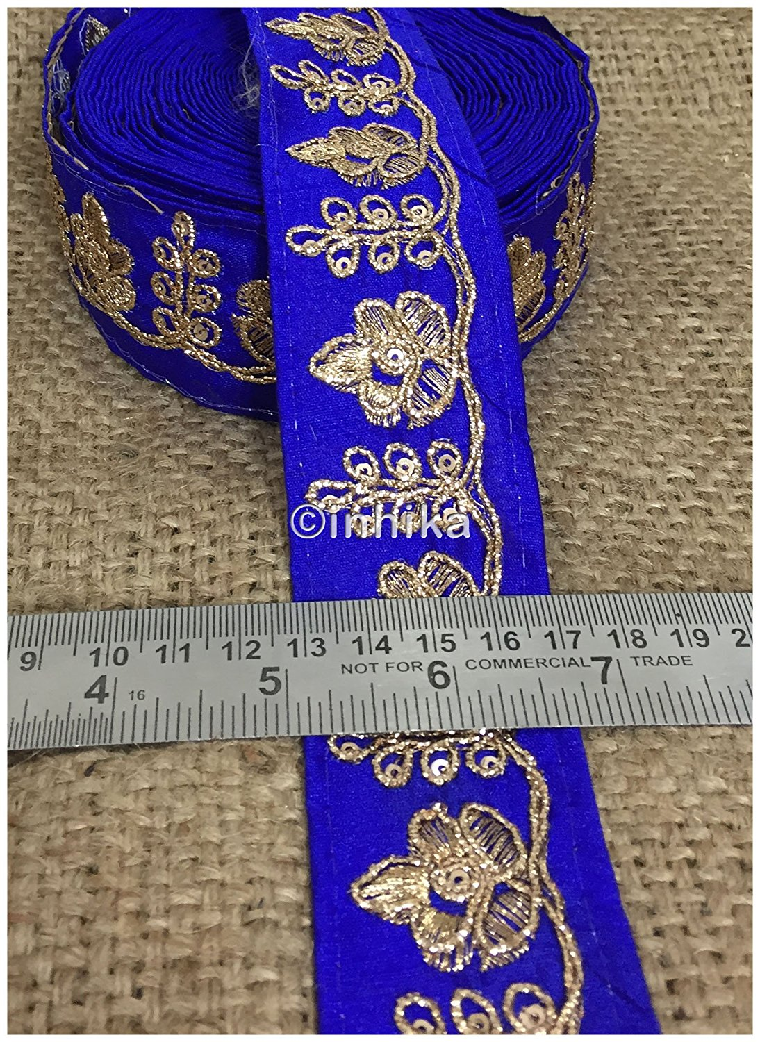 lace trim fabric sequin appliques and trims suppliers Royal Blue, Embroidery, 2 Inch Wide material Cotton Mix, Dupion