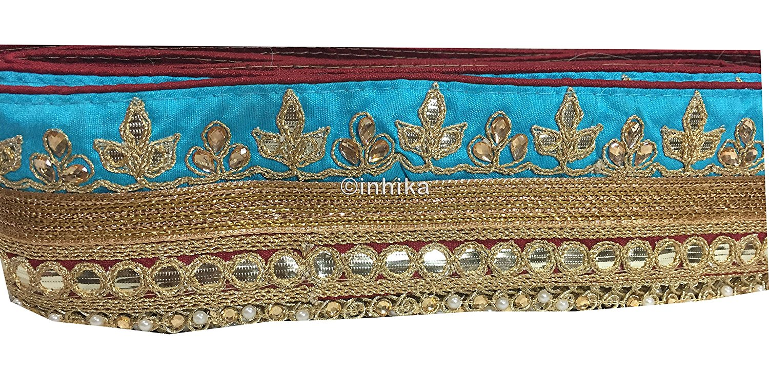 lace trim fabric fancy saree border lace for sale Sky-Blue-Maroon-Embroidery-Gota-Patti-3-Inch-Wide-3304