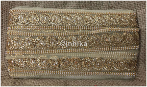 lace trim fabric designer fabric trim for garment wholesale suppliers Beige-Zari-2-Inch-Wide-3235