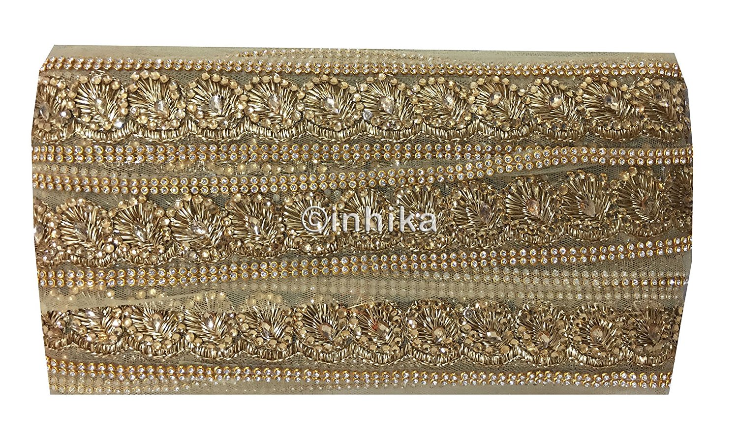 lace trim fabric bridal lace fabric uk wholesale india Beige-Zari-2-Inch-Wide-3235