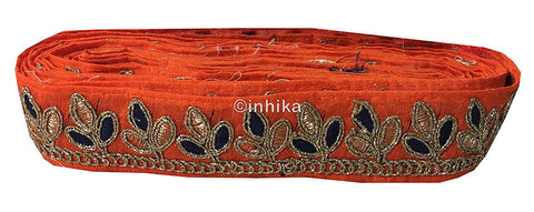 Image of lace trim fabric online saree lace border patterns design with price Orange, Embroidery, 2 Inch Wide material Cotton Mix