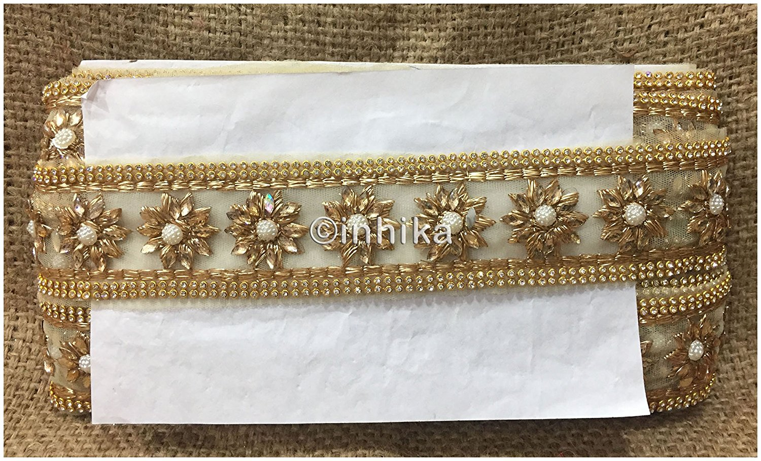 lace trim fabric beaded bridal braid trim by the yard Beige-Zari-2-Inch-Wide-3236