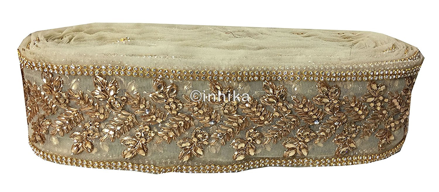 lace trim fabric bridal applique trim beaded lace Beige-Zari-4-Inch-Wide-3241