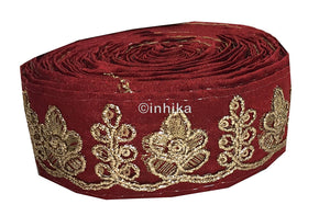 lace trim fabric decorative fabric trim ribbon for clothing Maroon, Embroidery, 2 Inch Wide material Cotton Mix, Dupion