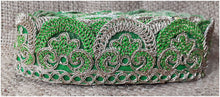 Load image into Gallery viewer, lace trim fabric beaded bridal braid trim by the yard Green-Embroidery-2-Inch-Wide-3256