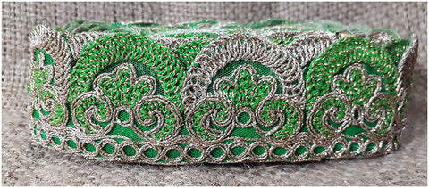 lace trim fabric beaded bridal braid trim by the yard Green-Embroidery-2-Inch-Wide-3256