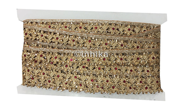 Copper Gold Floral Guipure Edging Trim with Gold Red Beads