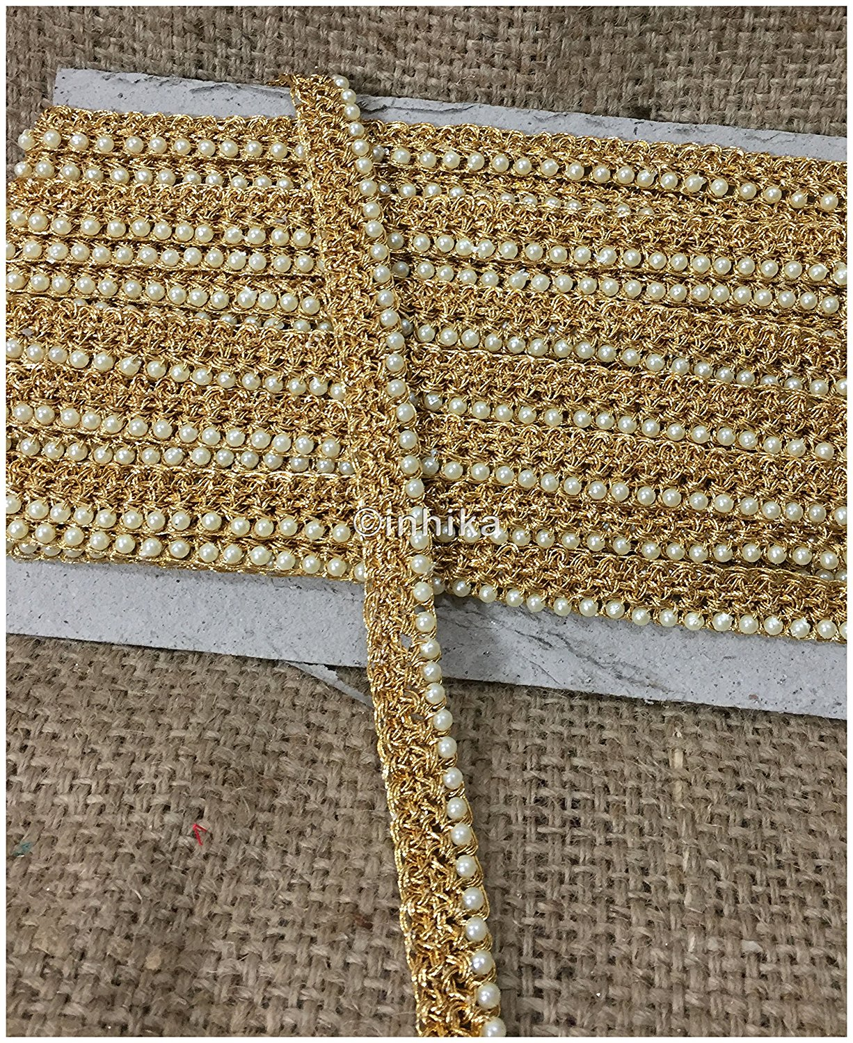lace trim fabric designer jacquard fabric ribbon trim Gold, Zari, 1 Inch Wide material Cotton Mix