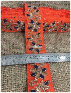 lace trim fabric lace material for dressmaking by the yard Orange-Flower-Embroidered-2-Inch-Wide-3214