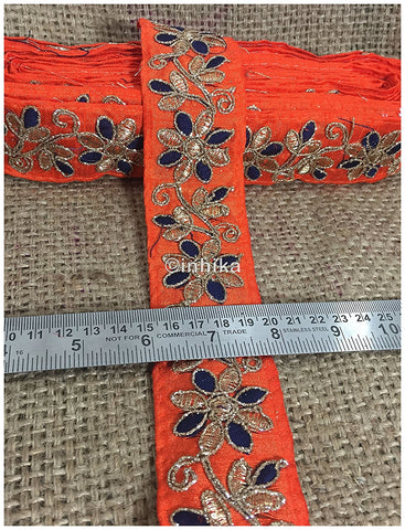 Image of lace trim fabric lace material for dressmaking by the yard Orange-Flower-Embroidered-2-Inch-Wide-3214