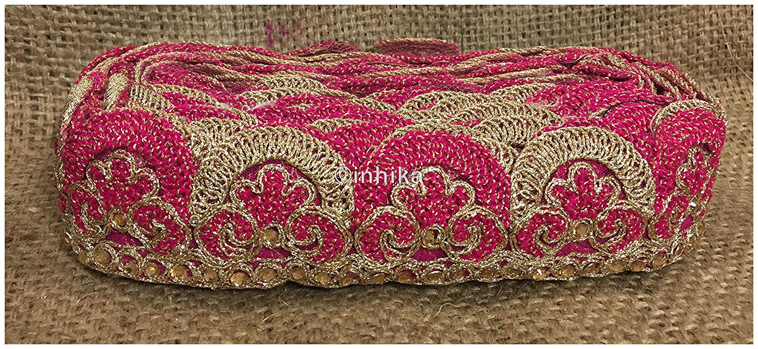 lace trim fabric embroidered lace fabric for wedding dresses india online Rani-Pink-Embroidery-2-Inch-Wide-3255