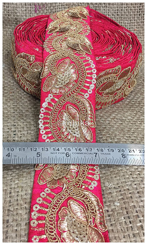 lace trim fabric where to buy fringe for clothing Pink, Embroidery, Sequins, 3 Inch Wide material Cotton Mix