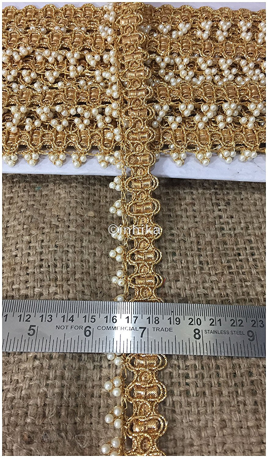 lace trim fabric beaded bridal lace fabric online by the yard Gold, Embroidery, Pearl, 1 Inch Wide material Cotton Mix