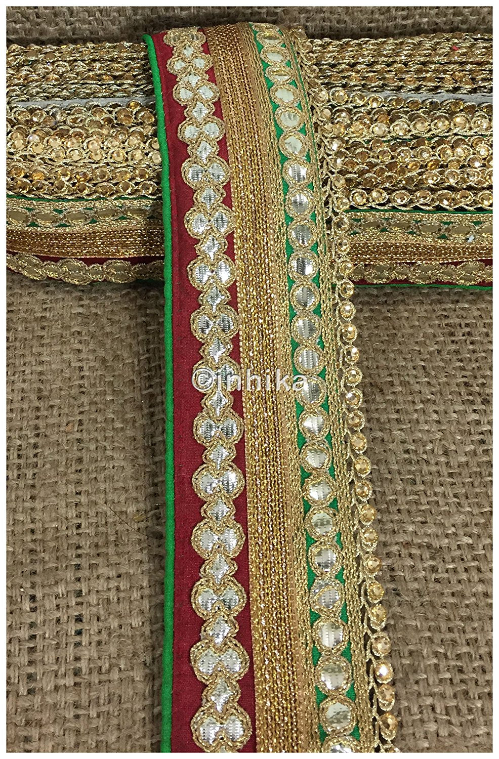 lace trim fabric decorative fabric trim ribbon for clothing Maroon-Green-Embroidery-Gota-Patti-3-Inch-Wide-3302
