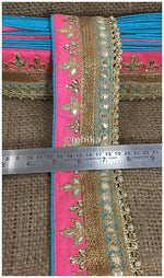 lace trim fabric designer fabric trim for garment wholesale suppliers Pink-Sky-Blue-Embroidery-Gota-Patti-3-Inch-Wide-3300
