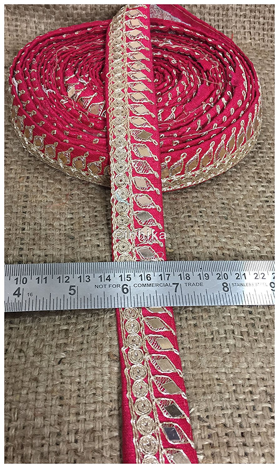lace trim fabric trims in fashion Pink, Embroidery, Mirror, 2 Inch Wide material Cotton Mix