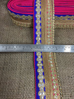 lace trim fabric trims and accessories used in garment industry Rani-Pink-Blue-Embroidery-Gota-Patti-3-Inch-Wide-3305