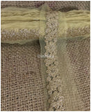 lace trim fabric beaded bridal braid trim by the yard Dull Gold, Embroidery, 3 Inch Wide material Net, Mesh, Tulle