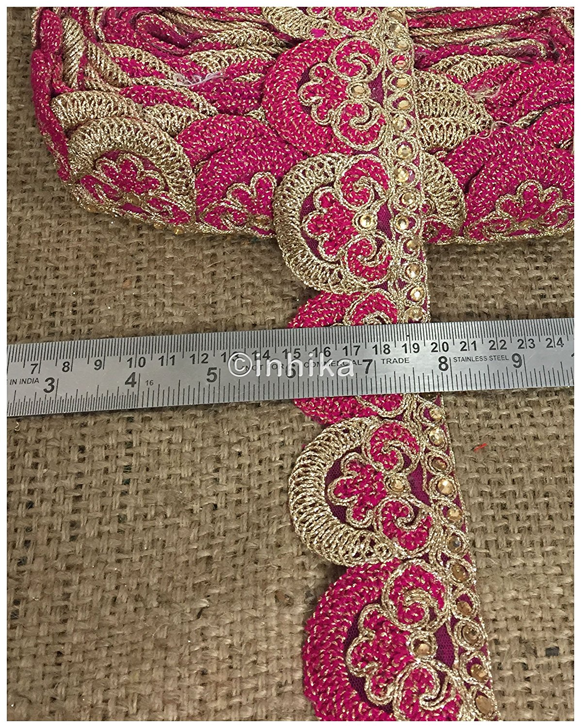 lace trim fabric saree border cheap lace fabric india Rani-Pink-Embroidery-2-Inch-Wide-3255