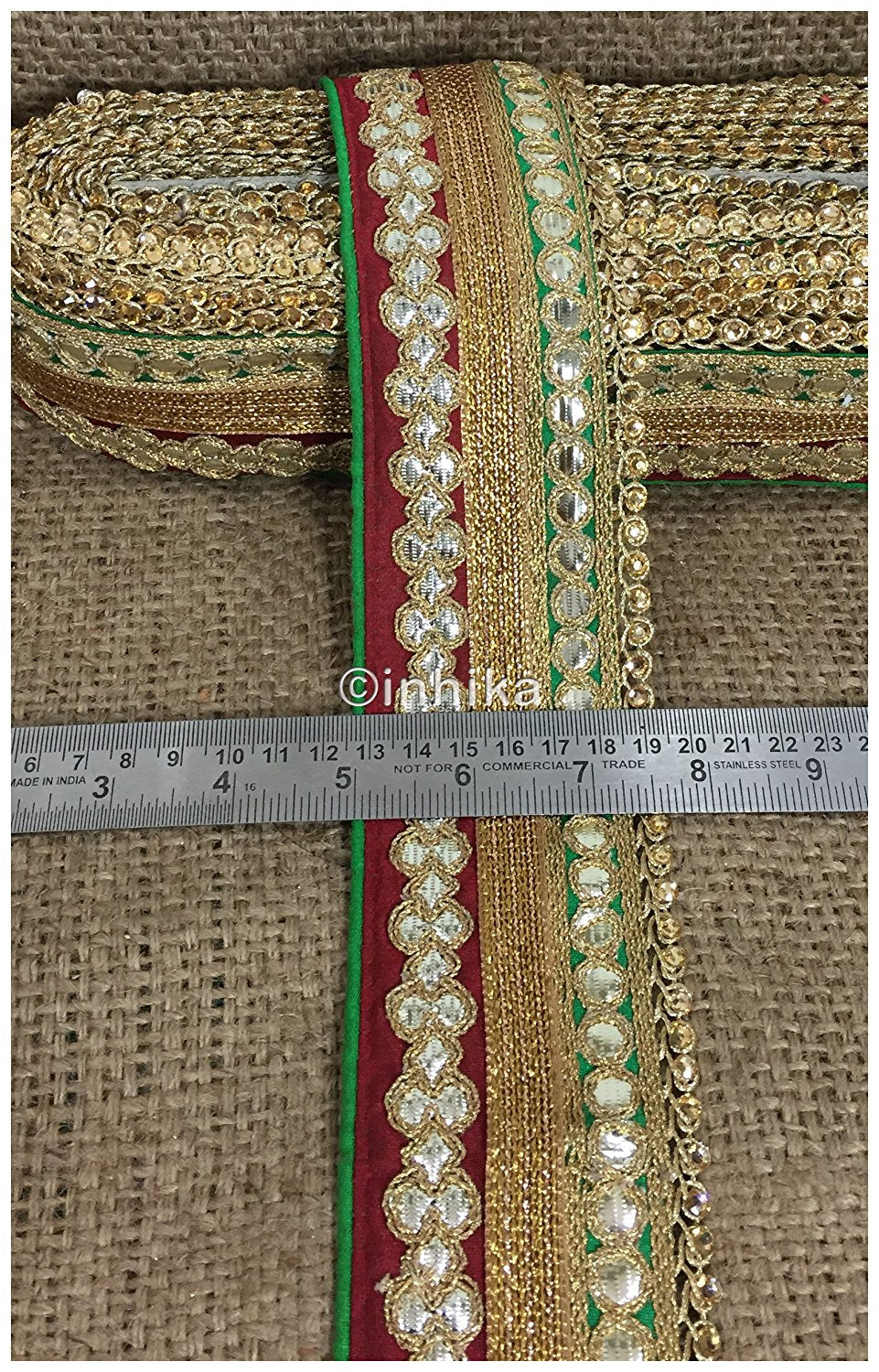lace trim fabric where to buy lace appliques Maroon-Green-Embroidery-Gota-Patti-3-Inch-Wide-3302